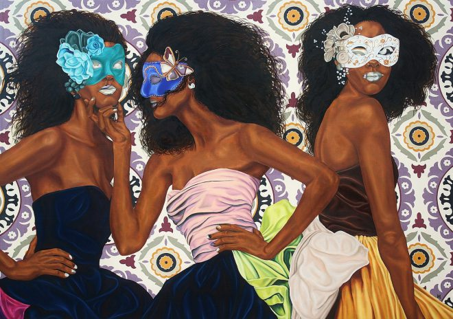 Alea Hurst, _Three Graces_, 2015. Oil on fabric. Courtesy the artist and Claire Elizabeth Gallery, New Orleans.