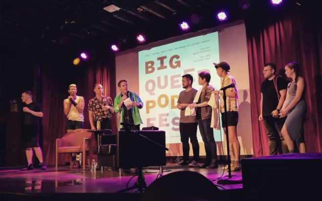 A Big Queer Pod Fest event at the Bell House, Brooklyn. Image via [@frantzyacluche](https://www.instagram.com/p/BkHD8QWHo1_/?tagged=bigqueerpodfest) on Instagram.