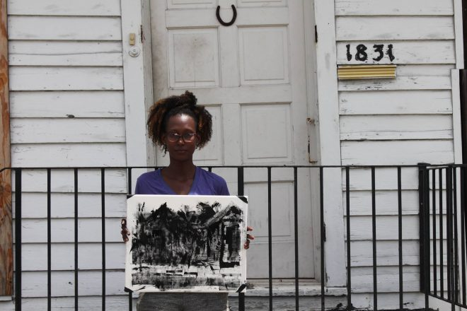 """Artist Katrina Andry at Blights Out's """"Live Action Painting"""" event in Tremé, June 2015. Photo by H. Hickman. Courtesy Blights Out, New Orleans."""