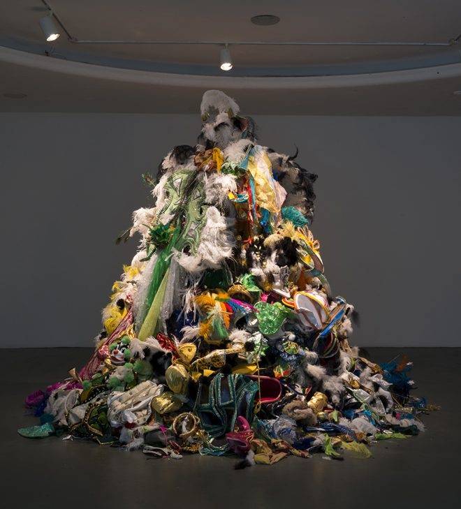 Andrea Fraser, _Um Monumento às Fantasias Descartadas (A Monument to Discarded Fantasies)_, 2003.  mixed media (Brazilian carnival costumes). Courtesy the Artist.