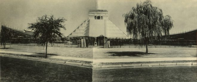 One cultural artifact included in Fallen Fruit's _EMPIRE_ is a collaged photograph showing the proposed Chichén Itzá Castillo behind the Tulane University stadium, circa 1935. Courtesy the Middle American Research Institute, Tulane University, New Orleans.