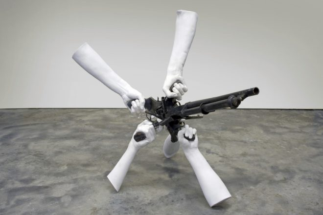 Michel de Broin, _War of Freedom_, 2014. Decommissioned guns and Forton. Courtesy the artist and Jonathan Ferrara Gallery, New Orleans.