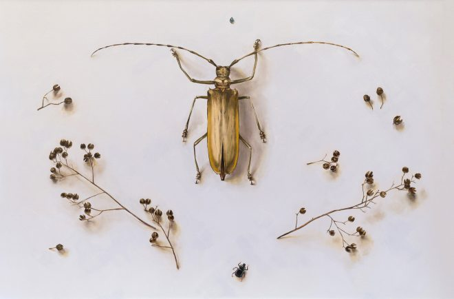 Ida Floreak, _Askew / Longhorn Beetle in Periwinkle_, 2015. Oil on wood. Courtesy the artist.