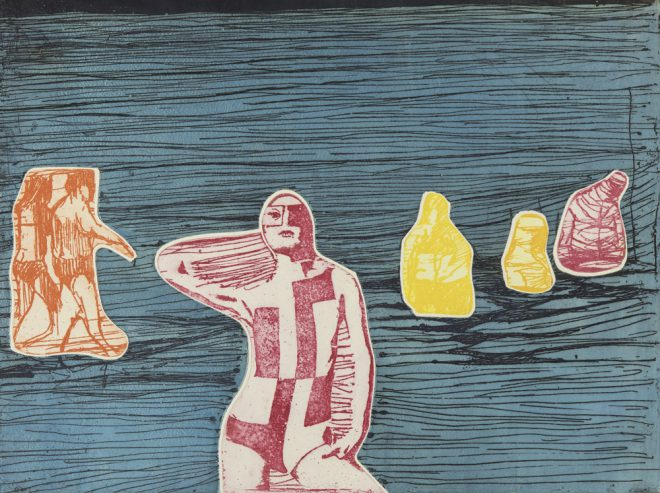 Jim Steg, _Figures at the Seashore_, 1967. Color etching on paper. Courtesy Frances Swigart-Steg.