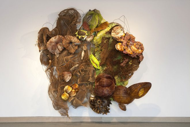 Judy Pfaff, _Umidum_, 2011. Honeycomb cardboard, wire frame, expanded foam, shellac, sunflowers, tree fungus, paper lanterns, and steel. Courtesy the artist.