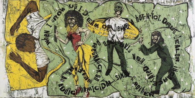 KATRINA ANDRY, _When I Grow Up: The Ascribed Black American Dream_, 2009. color woodcut reduction. Courtesy the artist and Jonathan Ferrara Gallery, New Orleans.