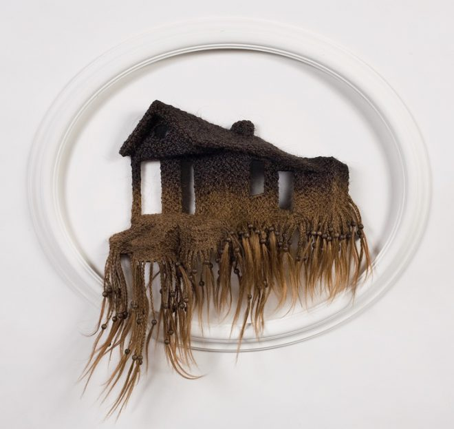 Loren Schwerd, _1317 Charbonnet Street_, 2007. Human hair, mixed media. Courtesy the artist and The Foundation Gallery, New Orleans.