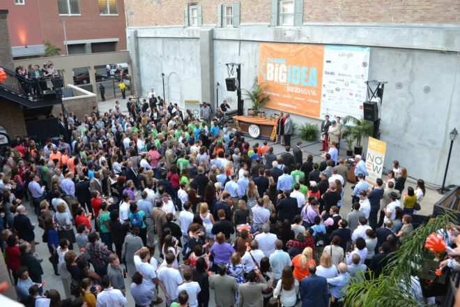 A crowd at last year's Blackstone Big Idea competition at New Orleans Entreprenuer Week. Via [Silicon Bayou News](http://siliconbayounews.com/2016/02/16/20-startups-in-the-running-for-the-big-idea-at-new-orleans-entrepreneur-week/).