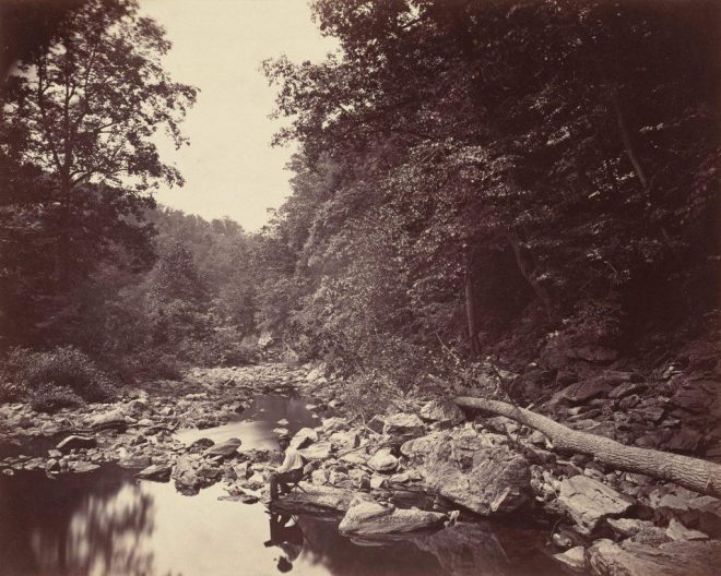 John Moran, _The Wissahickon Creek near Philadelphia_, c. 1863. Albumen print. Collection of the National Gallery of Art, Washington.