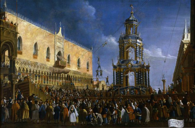 Gabriel Bella, _Fat Thursday Festivity in Piazzeta_, 18th century. Collection of Fondazione Querini Stampalia, Venice.