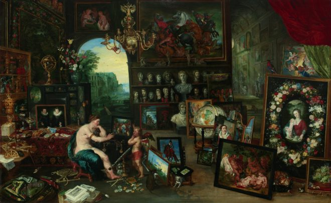 Jan Brueghel the Younger, _The Five Senses: Sight_, c. 1625. Oil on panel. Courtesy the Paul G. Allen Family Collection and the New Orleans Museum of Art.