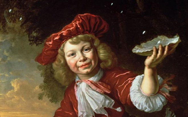 Bartholomeus van der Helst, _Homo Bulla: A Boy Blowing Bubbles in a Landscape_, 1665. Oil on canvas (detail). Collection of the New Orleans Museum of Art.