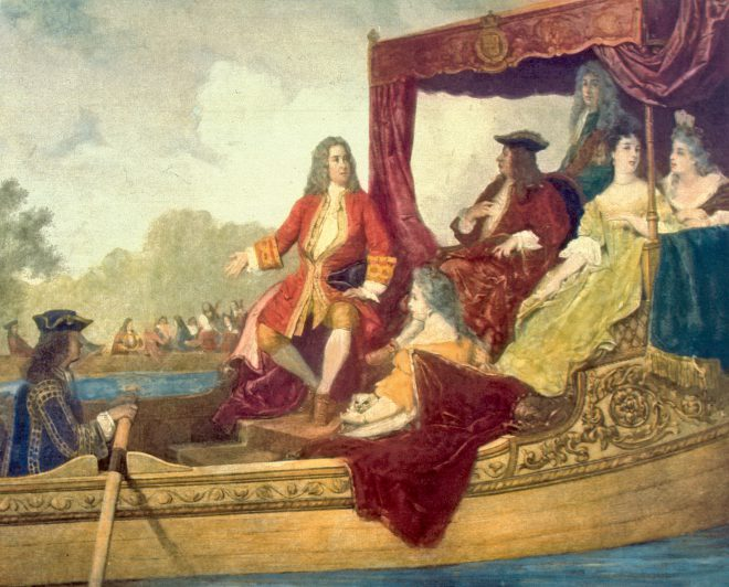 Édouard Jean Conrad Hamman, _George Frideric Handel and King George I on the River Thames, 17 July 1717_, c. 19th century. Image via [Wikimedia](https://en.wikipedia.org/wiki/File:GeorgIvonGro%C3%9FbritannienGeorgFriedrichHaendelHamman.jpg).