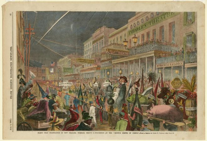 JAMES EARL TAYLOR, _MARDI GRAS CELEBRATION IN NEW ORLEANS…_, APRIL 6, 1867. WOOD ENGRAVING WITH WATERCOLOR FROM _FRANK LESLIE'S ILLUSTRATED NEWSPAPER_. COURTESY THE HISTORIC NEW ORLEANS COLLECTION.