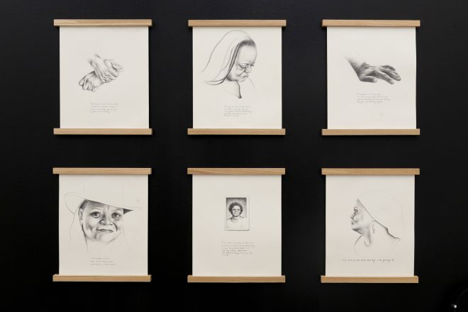 Installation view of Tatyana Fazlalizadeh's _A Solace with My Mama_, 2017, at Pelican Bomb Gallery X, New Orleans. Six graphite-on-paper drawings and an audio file. Courtesy the artist and Pelican Bomb, New Orleans. Photo by Jonathan Traviesa.
