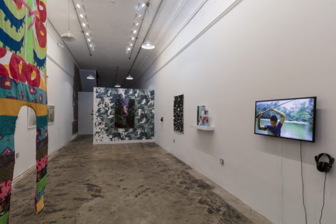 "Installation view of ""Queer Tropics"" at Pelican Bomb Gallery X, New Orleans. Photo by Jonathan Traviesa."