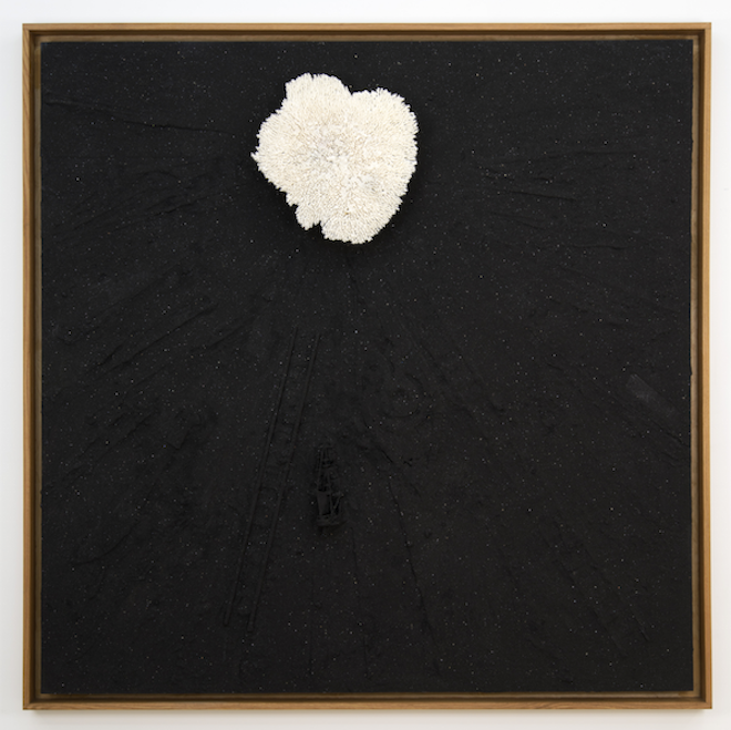 Radcliffe Bailey, _Clotilde_, 2014. black sand, wood, and coral. Courtesy the artist and Jack Shainman Gallery, New York.