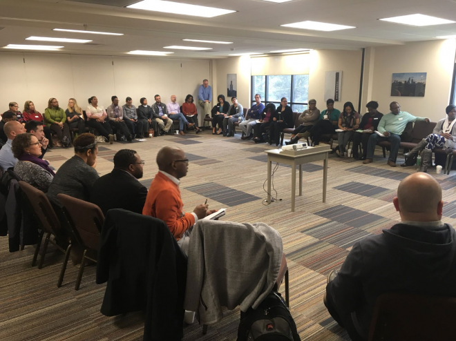 A Racial Equity Institute workshop in Charlotte, North Carolina. Image via [Twitter](https://twitter.com/MichaelDeVaul/status/978716205103177728).