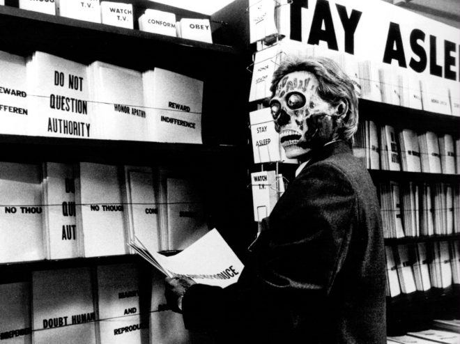 A still from director John Carpenter's _They Live_ (1988).
