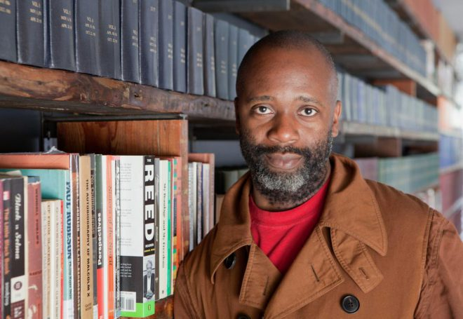 Artist Theaster Gates. Image via [Contemporary Performance](https://contemporaryperformance.com/2017/12/28/10-socially-engaged-art-practitioners-to-know-3-theaster-gates/).