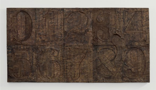 Jasper Johns, _0-9 (with Merce's Footprint)_, 2009. Bronze. Courtesy the artist and the New Orleans Museum of Art.