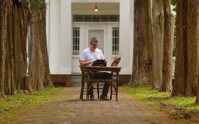Tim Youd, performance at the Faulker House, Oxford, MS, 2014. Photo by Robert Jordan/Ole Miss Communications. Courtesy the artist.