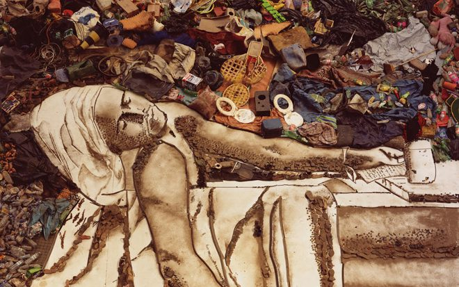 Vik Muniz, _Marat (Sebastiao) Pictures of Garbage_, 2008. Digital c-print (detail). Courtesy the artist.
