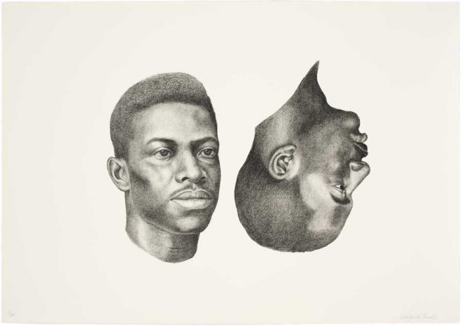 Whitfield Lovell, _Deuce (WLOV 0030)_, 2011. Lithograph on paper. Courtesy the artist and Arthur Roger Gallery, New Orleans.