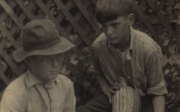 Doris Ulmann, _Boys with Squash_, 1928. Platinum-palladium print (detail). Collection of Roger H. Ogden.