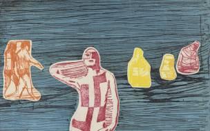 Jim Steg, _Figures at the Seashore_, 1967. Color etching on paper. Courtesy Frances Swigart-Steg.
